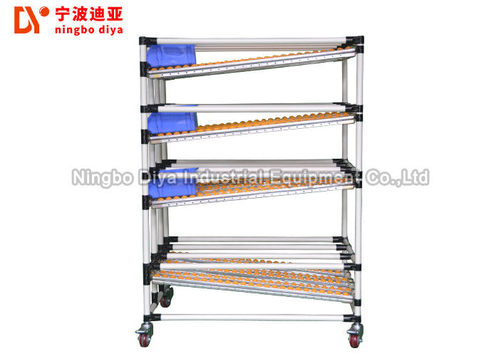 Yellow Lean Pipe Sliding Roller Track For Sliding Shelf System Conveyor